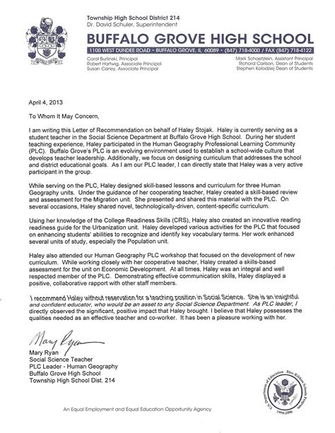 College Letter Of Recommendation From High School Reference Letter For A Highschool Student From A Sle Recommendation Letters From