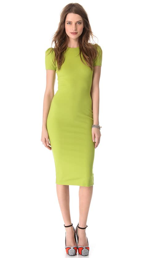 light green dress with sleeves dsquared 178 short sleeve jersey dress in green lyst