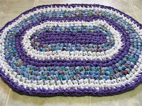 purple oval rug purple white mixed oval rag rug 051612 by kimsrugs on etsy 25 00 for the home