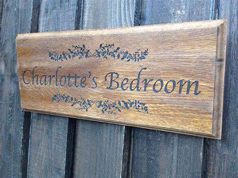 Bedroom Door Plaques Uk Personalised Oak Sign Darkwood Personalised Garden