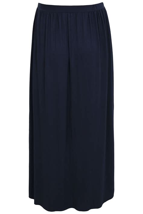 navy jersey maxi skirt plus size 16 to 36
