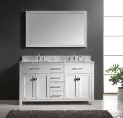 Caroline 60 inch double square sink bathroom vanity in white by virtu
