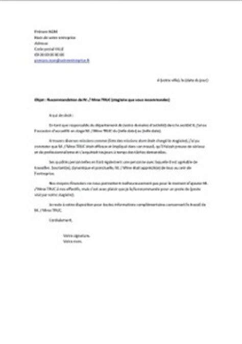 Lettre De Recommandation Après Un Stage Lettre De Recommandation Apr 232 S Un Stage Exemples De Cv