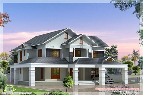 2 floor houses luxury 5 bedroom villa kerala house design