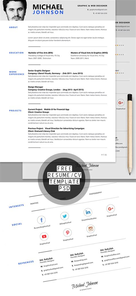 resume psd template rar 15 free psd cv resume and cover letter templates freebies graphic design junction