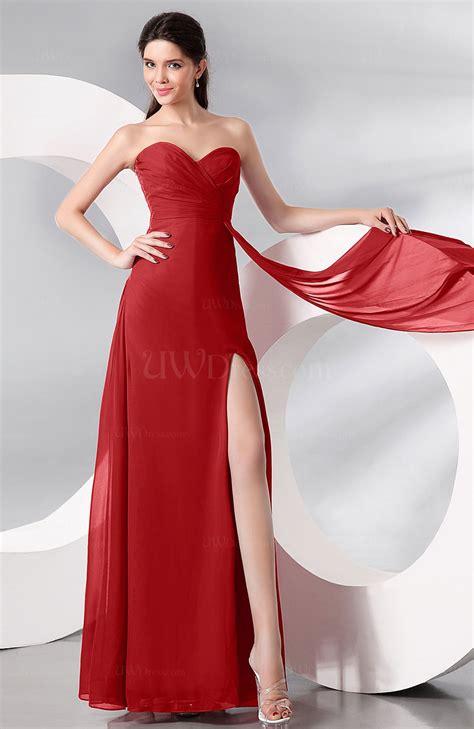 red plain sleeveless zip  chiffon floor length prom