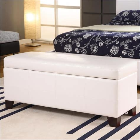 modus bedroom storage bench in white leatherette