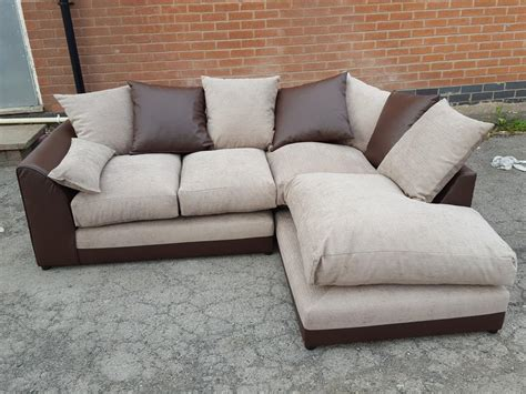 Brand New Corner Sofa Brown Leather Base And Beige Fabric Brown Leather Sofa With Fabric Cushions