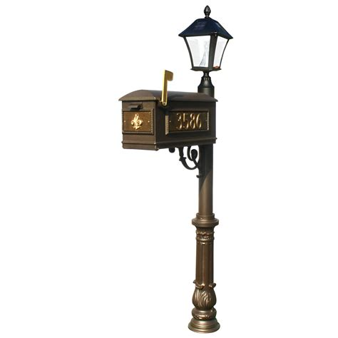 Mailbox Solar Light Lewiston Post With Economy 1 Mailbox Ornate Base In