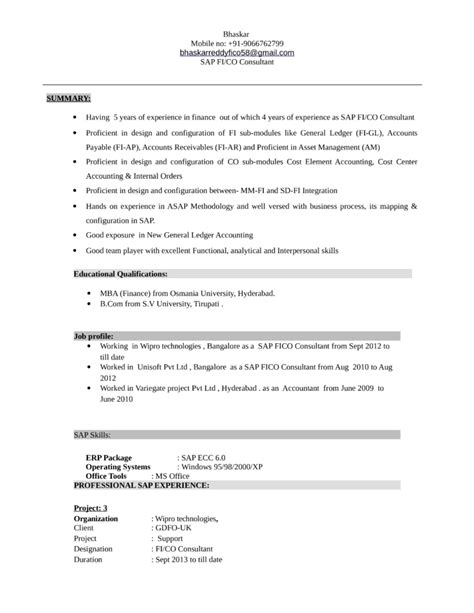 sle resume for accounting consultant sap sd sle resume
