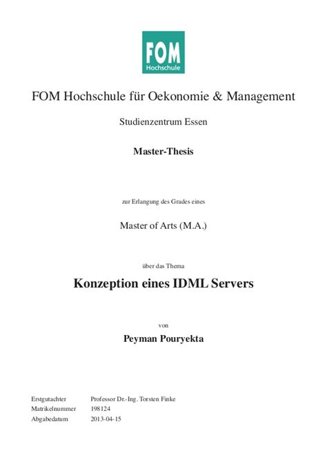 Mba Master Thesis Themen by Konzeption Eines Idml Servers