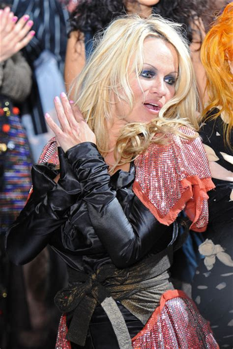 pamela wardrobe malfunction pamela anderson on the vivienne westwood runway 2 zimbio