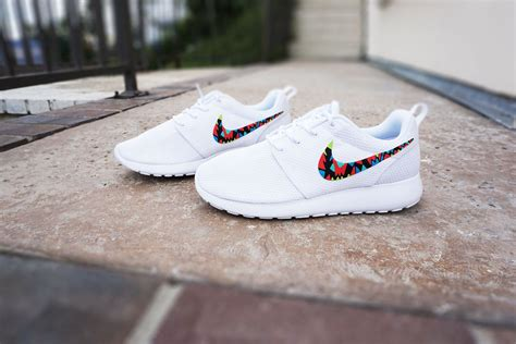 white pattern nikes womens custom nike roshe run sneakers white on white nike