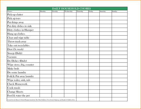 Family Chore Chart Template Authorization Letter Pdf Pdf Chore Chart Template