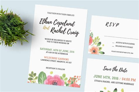 Invitation Card A7 Photoshop Template by Wedding Invitation Set Free Psd Mockup Age Themes
