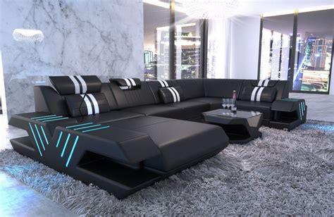 u shaped leather sofa modern beverly u shape with ottoman and led