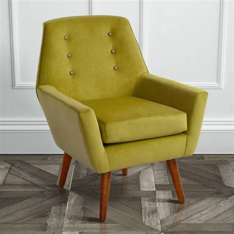 retro velvet armchair with walnut legs by i retro