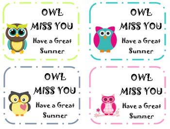 Owl Miss You Card Template by Owl Miss You Student Goodbye Notes By For What It S Worth