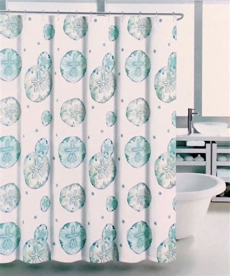 coastal collection shower curtain coastal collection aqua blue sand dollar fabric shower