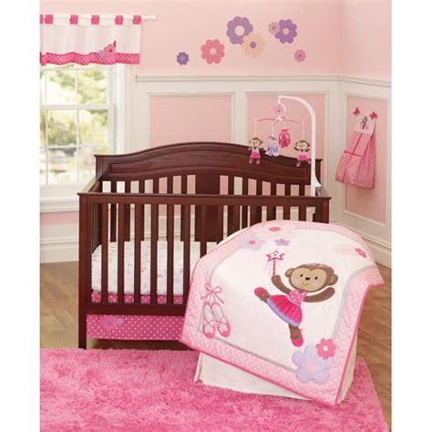 girl monkey crib bedding baby girl pink purple ballet princess dancing monkey crib
