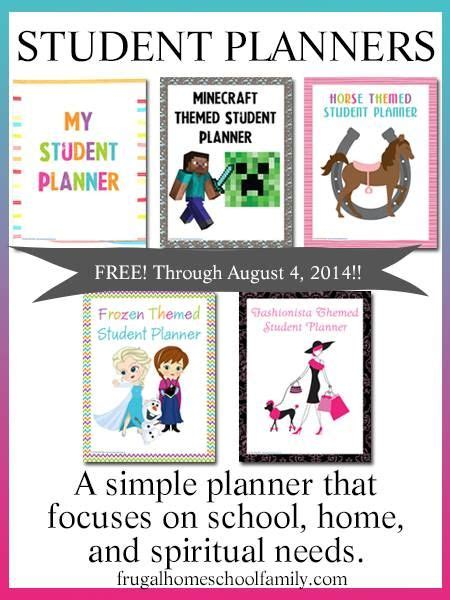 printable homeschool student planner free printable frozen minecraft homeschool student