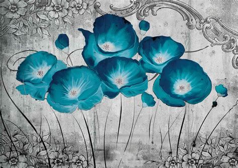 Wallpaper Sticker Vintage Flower 45 Cm X 10 Mtr Wall Stiker vintage flowers blue grey wall paper mural buy at