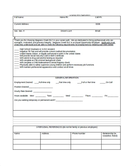 43 Employment Sles Sle Templates Daycare Application Template