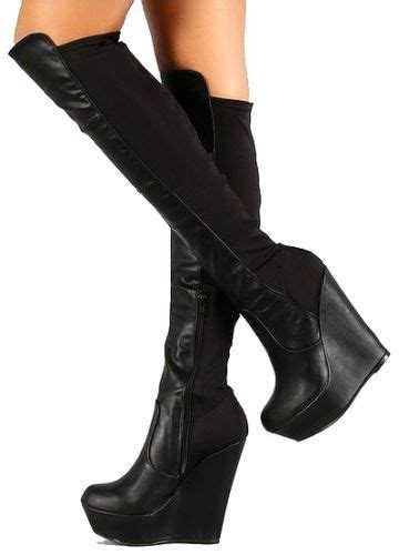 Heel Booth details about booth 08 black wedge knee high stretch boot