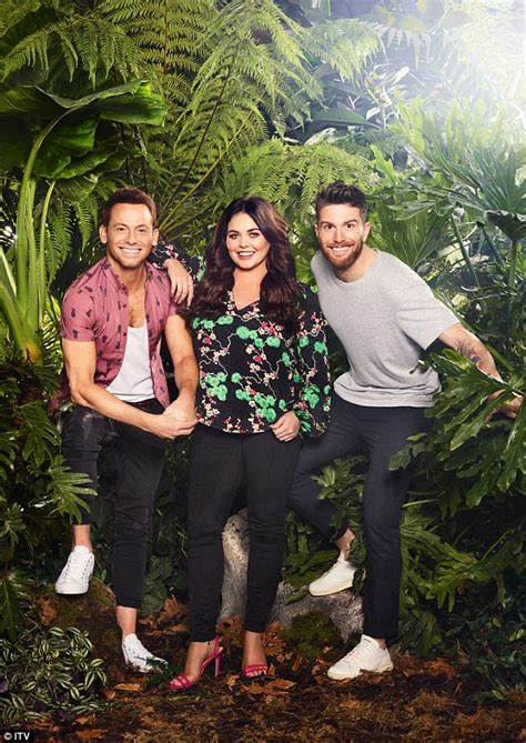 whos hosting celebrity jungle 2017 scarlett moffatt poses with i m a celebrity 2017 co hosts
