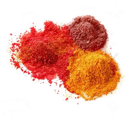 colored powder chalk spicy color powder chalk dust on white background isolated