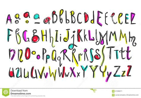 doodle kid free font doodle colorful font royalty free stock image