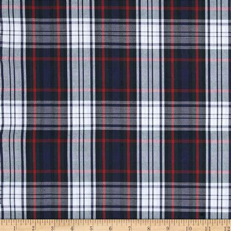 plaid fabric poly cotton uniform plaid black red white discount