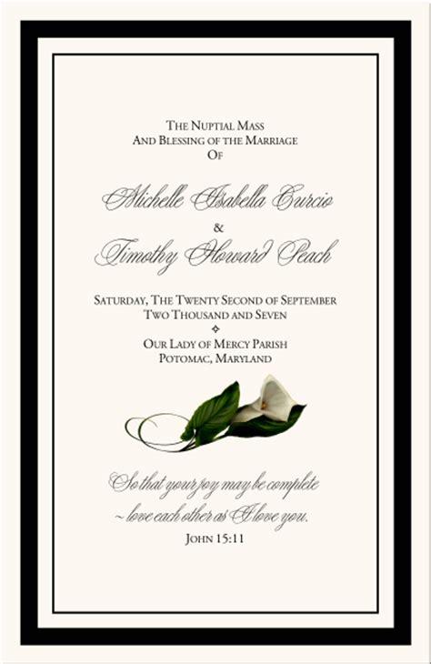 84 Wedding Bulletin Cover Printable Wedding Program Greek Orthodox Program Exle Free Calla Wedding Program Templates