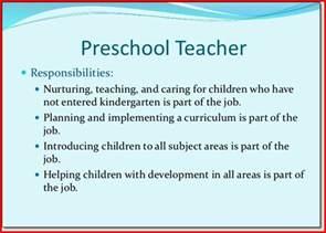 Description Of Kindergarten Teacher Preschool Teacher Job Description Sample Kristal