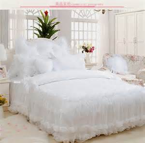 King Size Bedding With Ruffles Luxury Ruffles Jacquard Bedding Sets King Size 4pcs Snow