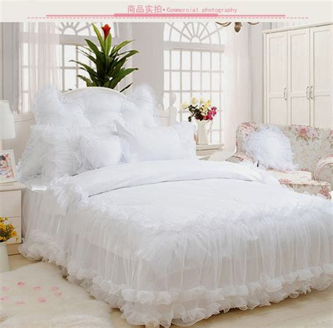 luxury ruffles jacquard bedding sets king size 4pcs snow