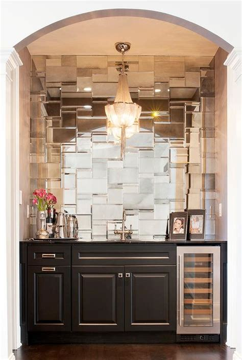 wet bar mosaic mirrored tile backsplash contemporary living room