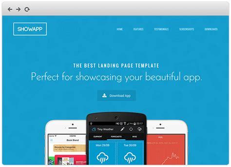 app header layout showapp premium app showcase landing page