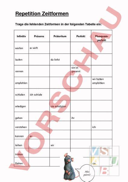 präsens präteritum perfekt tabelle www unterrichtsmaterial ch grammatik