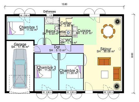 plan de masse de avec 3 chambres salon cuisine et