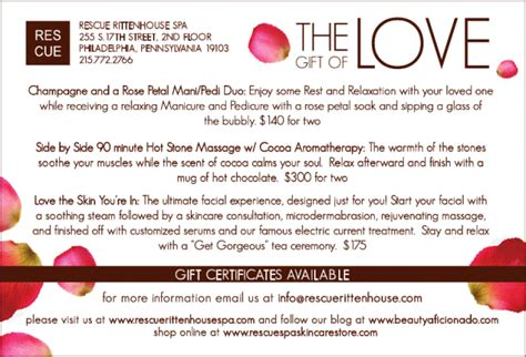 valentines spa specials s day specials at rescue rittenhouse spa