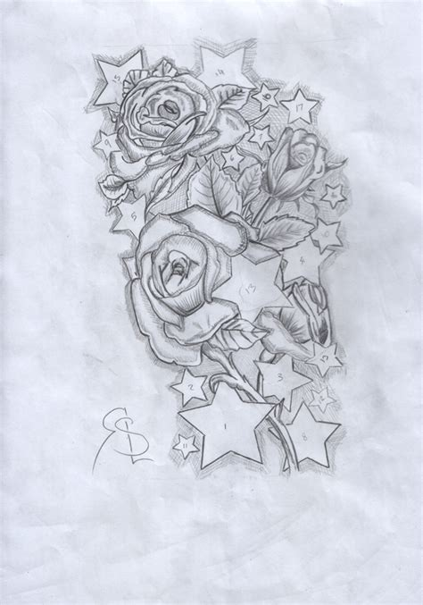 rose and star tattoo skull sleeve designs pencil sketch for sleeve