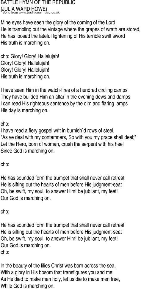 printable lyrics to battle hymn of the republic irish music song and ballad lyrics for battle hymn of
