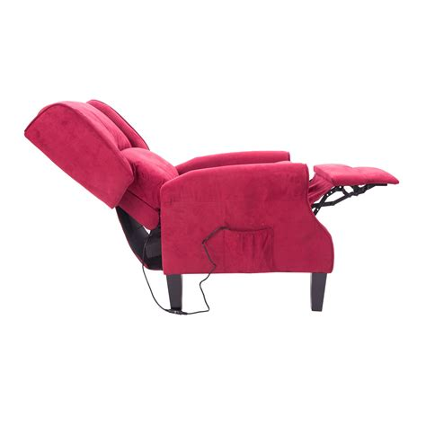 heated recliner massage chair homcom heated vibrating suede massage recliner chair red