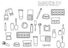 doodle trucchi makeup palette black contour isolated stock illustrations