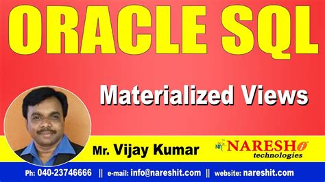 oracle tutorial materialized views materialized views in sql oracle sql tutorial videos