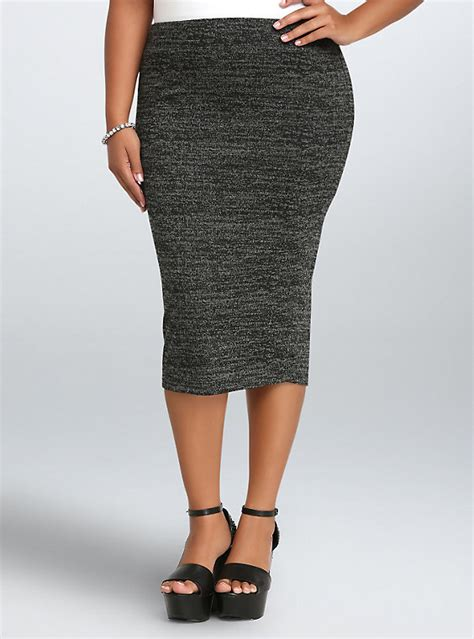 marled knit midi pencil skirt torrid