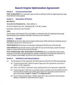 seo template pdf sle seo contract 9 documents in pdf