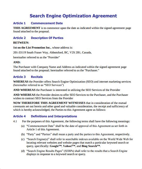 seo template pdf sle seo contract 9 documents in pdf