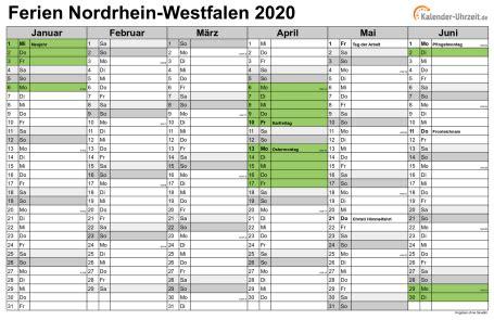 ferien nordrhein westfalen  ferienkalender zum ausdrucken